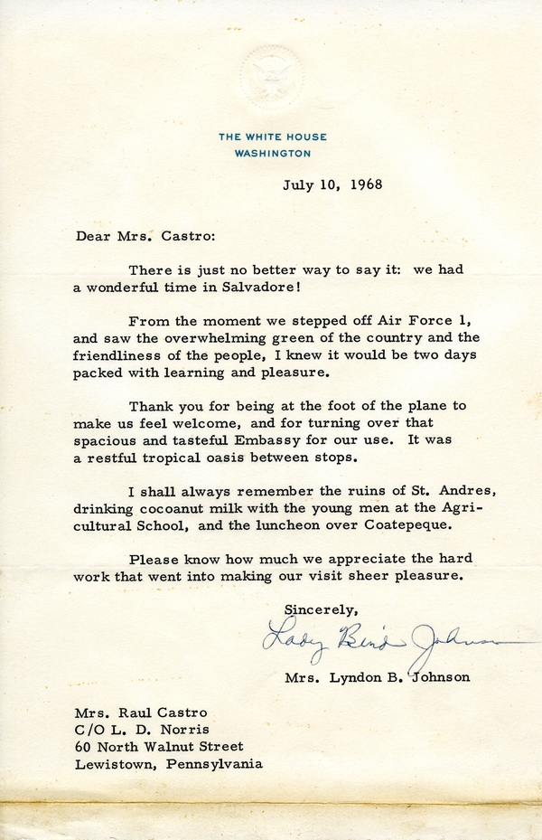 Thank you letter from lady bird johnson regarding 1968 el salvador thank you letter from lady bird johnson regarding 1968 el salvador trip expocarfo