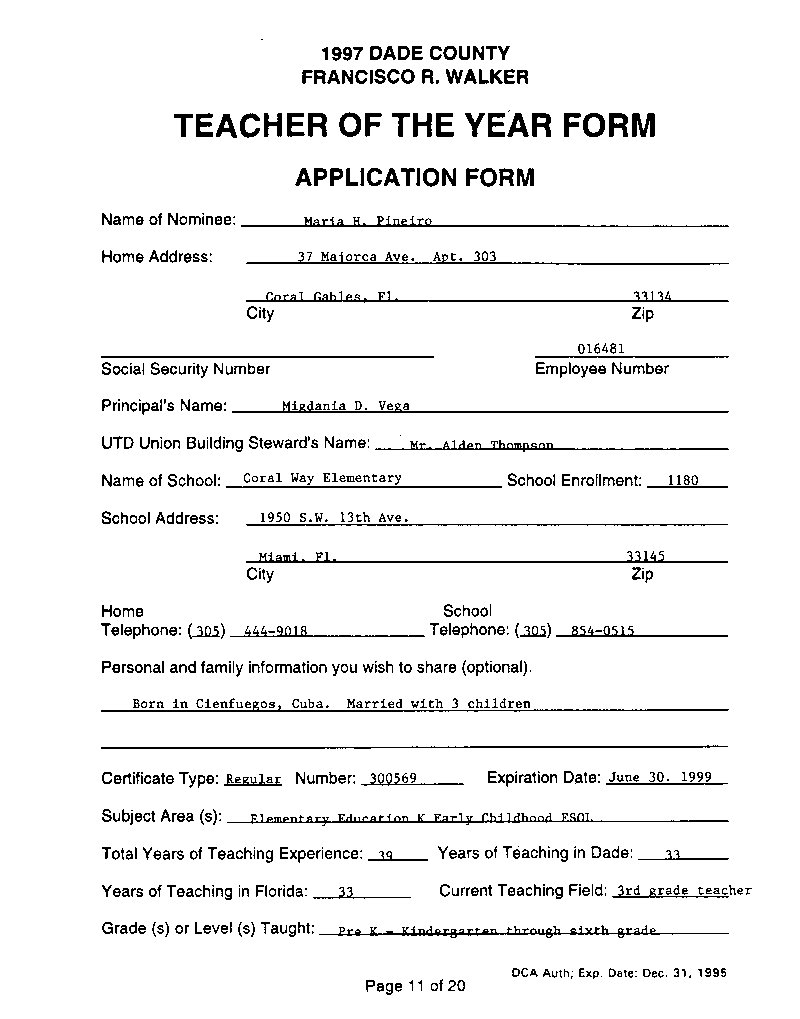 maria h pineiro teacher of the year application form uair