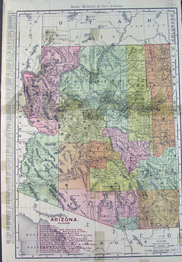 1906 Rand McNally & Co.'s Arizona map | UAiR Rand Mcnally Maps Download on