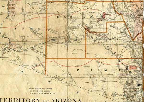 Territory Of Arizona Map Used On Cattle Drive UAiR - Map of us cattle ranches