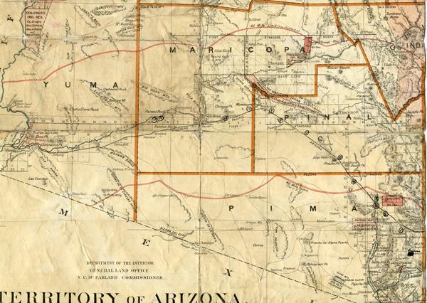 Vail Arizona Map.Territory Of Arizona Map Used On 1890 Cattle Drive Uair